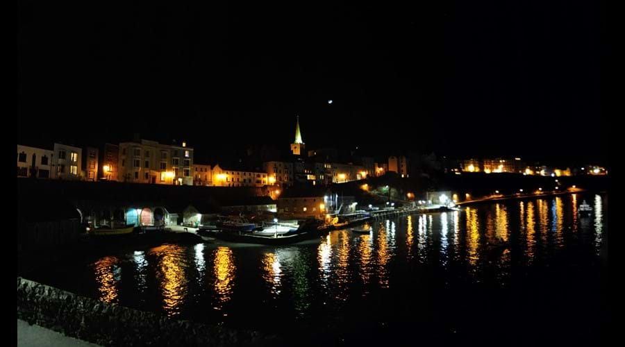 View over harbour at night