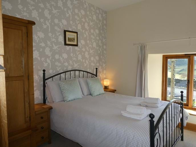 King size room with fantastic views over the cobbled courtyard to the countryside beyond