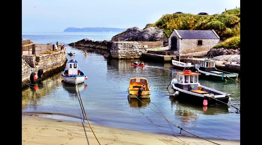 Wide-open views across the tiny harbour at Ballintoy