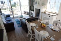 The log burner in addition to gas central heating makes Puffin Lodge a cosy retreat all year round