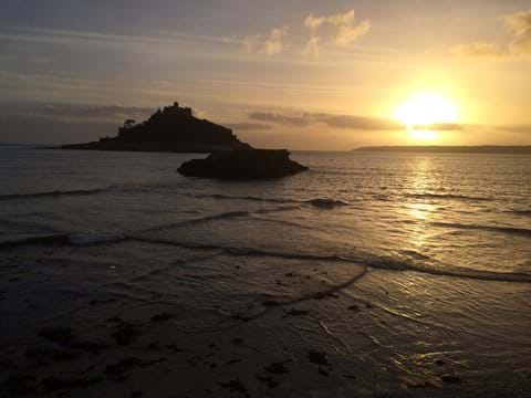 sunsetting over St Michaels Mount