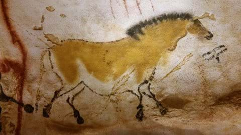 Prehistoric tan horse painting on cave wall at Lascaux 11
