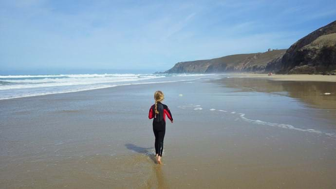 Wide open sands between Porthtowan and Chapel Porth at low tide.