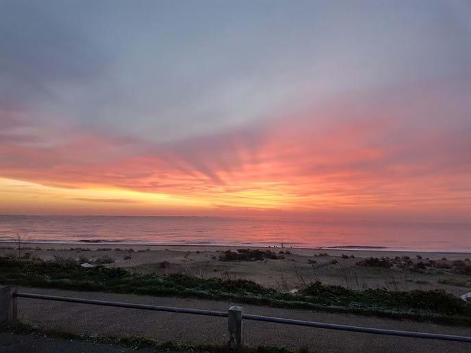 Winter sunrise over Pakefield beach