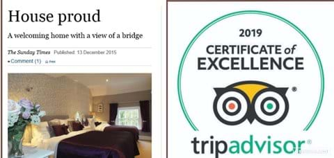 Featured in' The Sunday Times'.  TripAdvisor Certificate of Excellence Award 2019