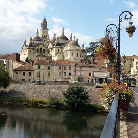 Domes of Perigueux cathedral from the bridge