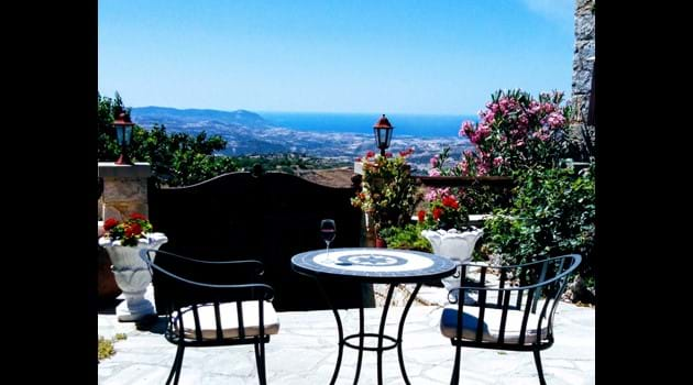 The courtyard has the most spectacular views towards the sea
