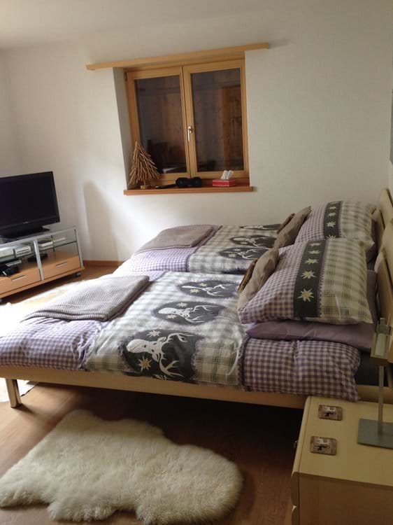 Second Bedroom with large twin beds, TV and games consoles and en-suite