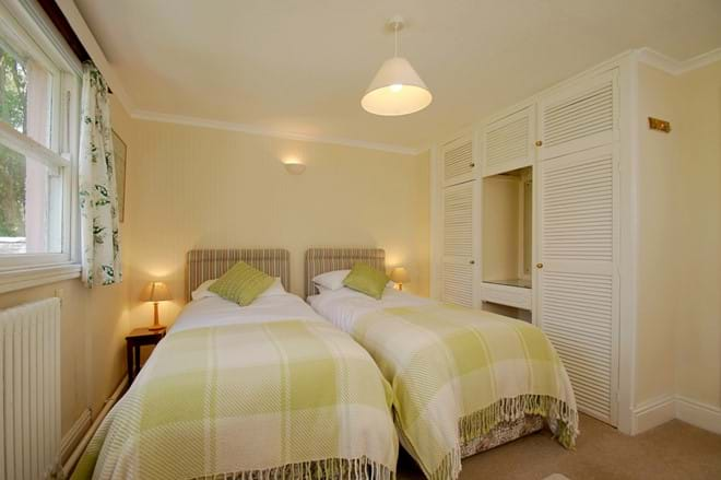 one of two twin bedded rooms in a great house for family holidays in North Wales