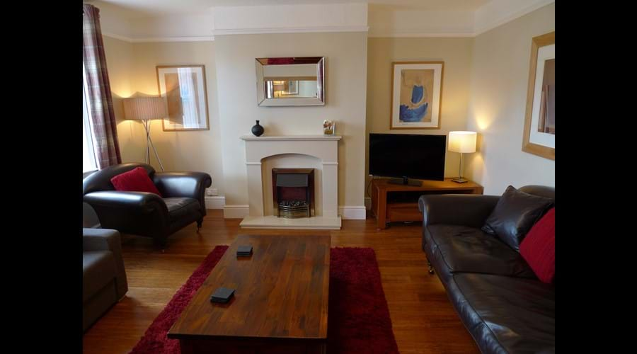 Front sitting room with leather sofa, TV, DVD, Electric fire