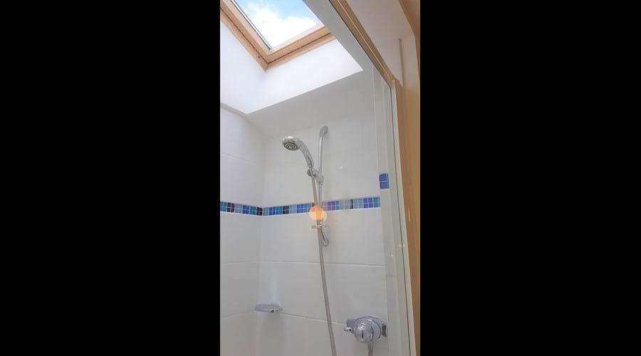 Large, walk-in shower enclosure.