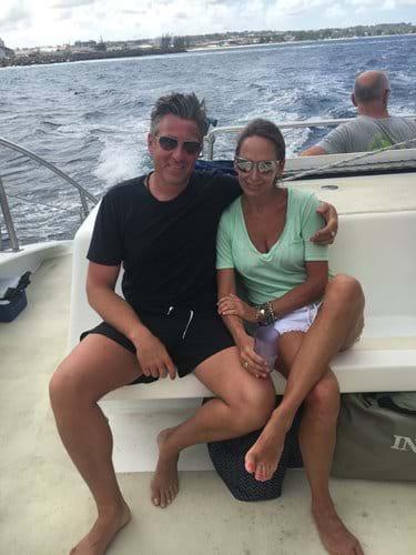 "The owners, on board "" Cool runnings "" catamaran!"
