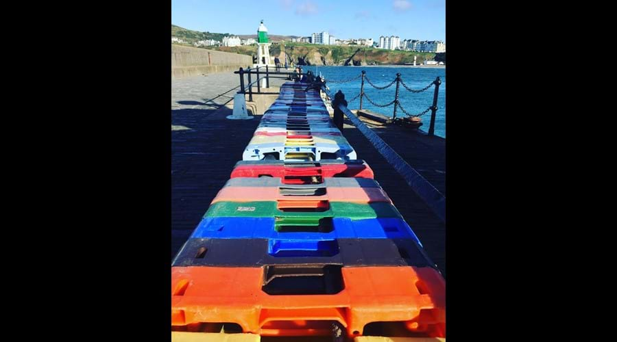 Colourful crates, Raglan Pier, Port Erin