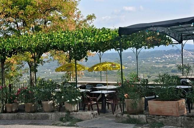 Lunch with a view at Cafe de France in Lacoste.