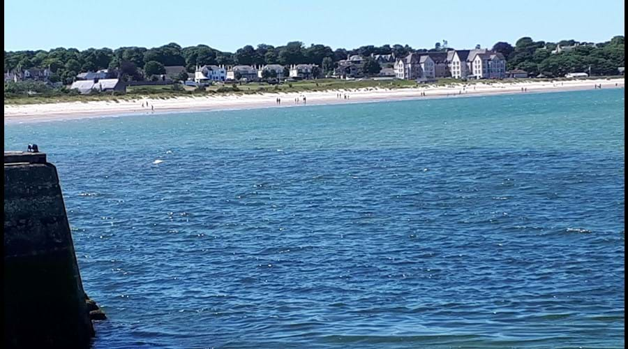 St Trinneans, in the back ground, looks towards Nairn central beach
