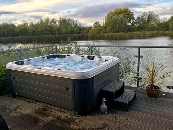 Private hot tub overlooking the lake