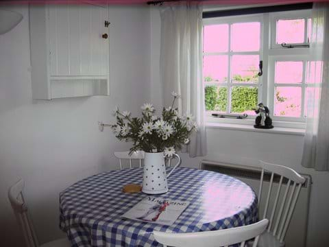 Dining area looking out across gardens