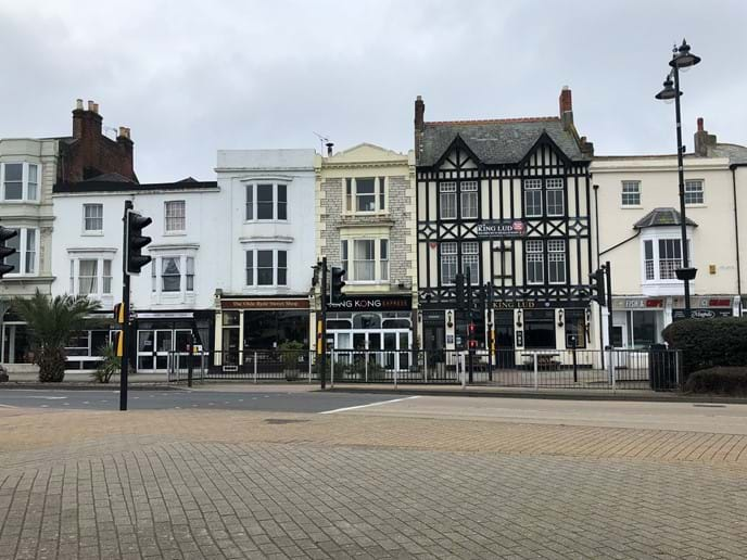Ryde town centre, with shops bars and cafes