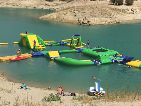Floating obstacle course on the lakes at El Chorro
