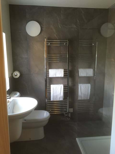 Heated towel rail and ensuite shower