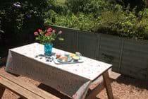 Take tea in the enclosed courtyard garden