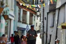 The narrow winding streets of the Village