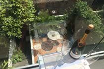 Another view into the tranquil sunny garden from fist floor balcony-spoilt for choice!