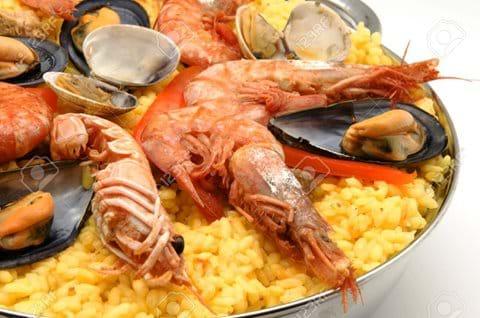 Tasty seafood paella