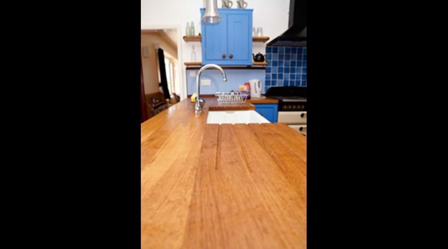Blue kitchen at Three Gables
