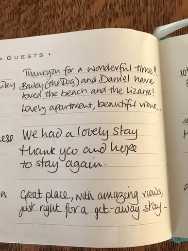 More lovely comments in our guest book
