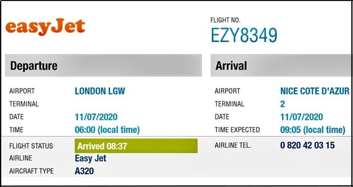 July 2020 - Travel Restrictions ease at last!  First easyJet flight in from London Gatwick on July 11 2020 - with Villa Seburga guests on board, of course!  Arrives nearly 30 minutes early too...