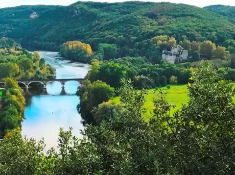 Dordogne river view with bridge