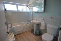 Main Bathroom with shower over bath.