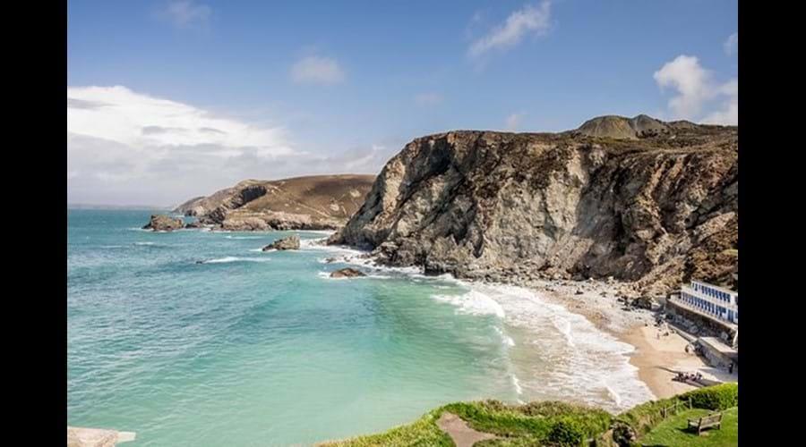 The local beach from the coastal path