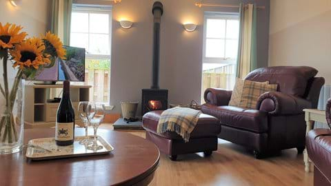 Comfortable sitting room with wood-burning stove