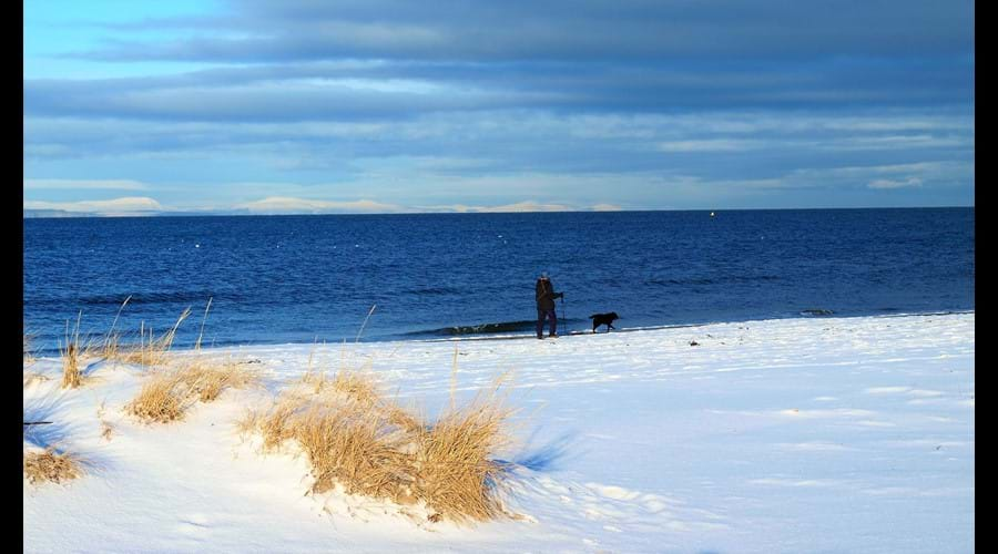 snow on Nairn beach, very rare sight!