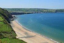 Penbryn National Trust Beach from Wales Coastal Path ...