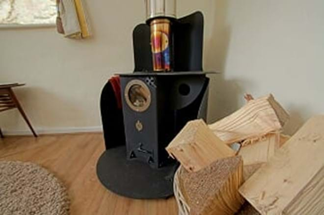 photo showing log burner in Bwthyn Bach self catering cottage for two near Criccieth
