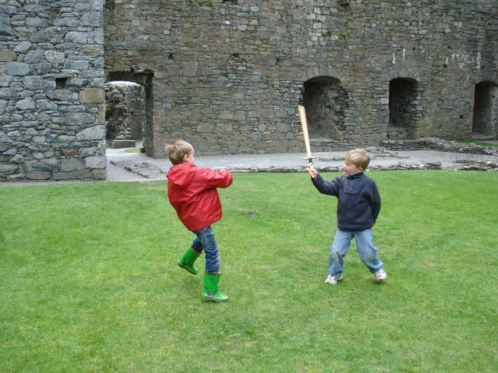 Sword fighting at Harlech Castle