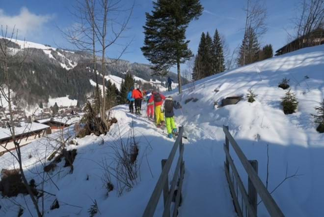 Bridge 30 meters from the chalet to the path to the slopes