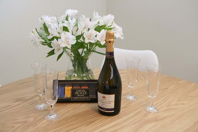 Enjoy the prosecco from our welcome pack