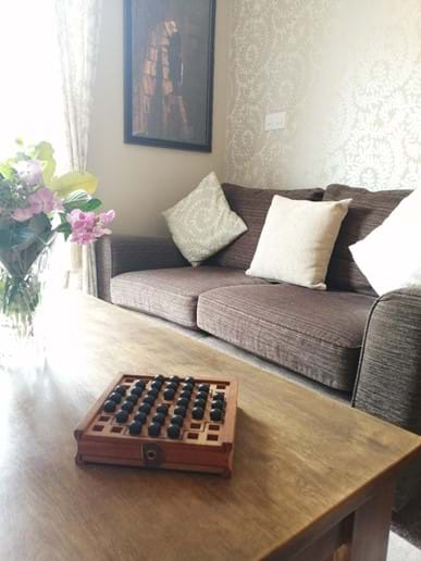 RELAX ON THE COSY SOFA AND ENJOY THE VIEW OF THE IRON BRIDGE