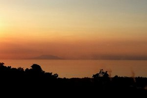 Sunset with mount Baluran, East Java, seen from Villa