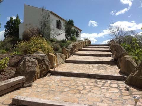 Steps up to the casitas