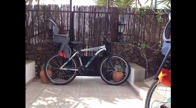 Free use of 2 adult bikes with infants seats + hats + some child bikes
