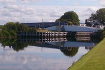 Caledonian canal swing bridge and train