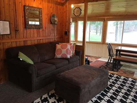 View of living room and porch.