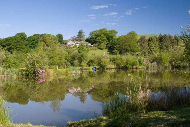 Eisteddfa large family self catering country house viewed from the lakes below