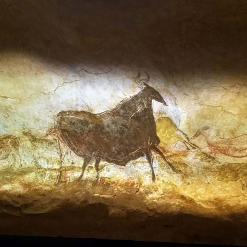 Example of prehistoric cave painting as seen in Lascaux Caves