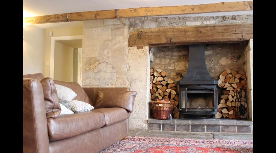 Main reception room with woodburner